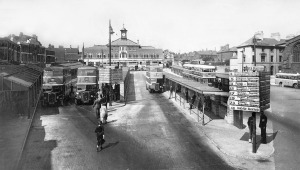 Walsall Bus Station, 1950. Note many buildings since lost. (Walsall LHC)